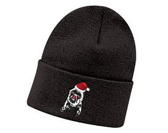 Santa Pug Cotton Knit Beanie Hat (Great Last Minute Xmas Gift!) 1bde5f30564