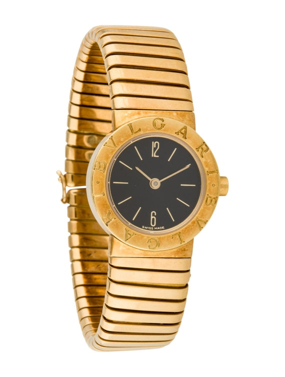 Adorable 18K Gold Bulgari Tubogas Lady Watch with Shimmering  ae10a18232081