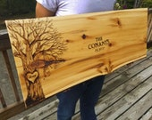 CUSTOM ANY DESIGN Personalized Wedding Guest Book Alternative Wood Slab Handcrafted Engraved Carved Customized Wood Signs Cedar Live Edge