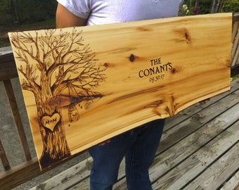 CUSTOM ANY DESIGN : Personalized Wedding Guest Book Alternative Wood Slab Handcrafted Engraved Carved Customized Wood Signs Cedar Live Edge