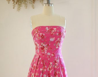 Vibrant Vintage Laura Ashley floral strapless cotton garden party dress with pocket!