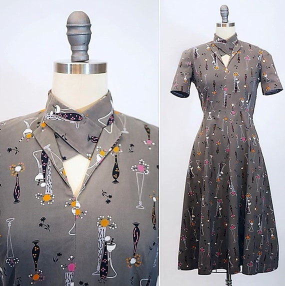 1940s Atomic Novelty Print Cotton Dress - image 2