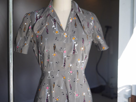 1940s Atomic Novelty Print Cotton Dress - image 5