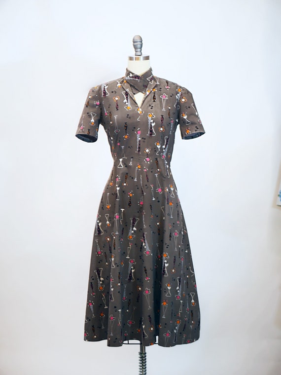 1940s Atomic Novelty Print Cotton Dress - image 1