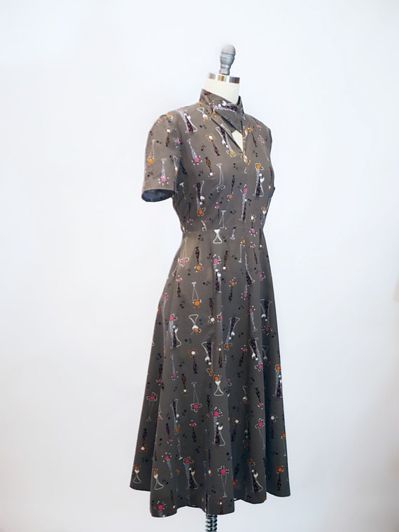 1940s Atomic Novelty Print Cotton Dress - image 3