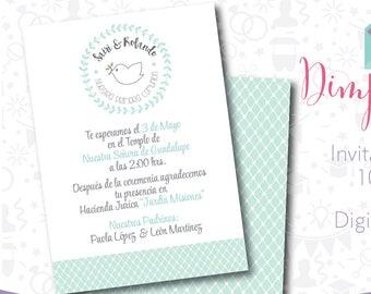 First Communion, Invitation Printable, Invitation Digital, First Communion Mint
