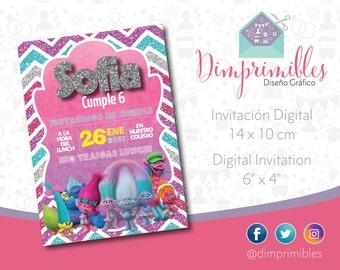 Digital Invitation, printable, Trolls, Poppy, imprimible, girls