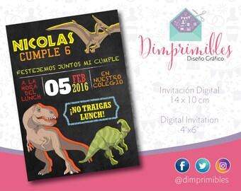 Dino Invitation, Dinosaur Invitation, Dinosaur Printable, Dino Party, Dino Birthday, Dinosaur chalkboard