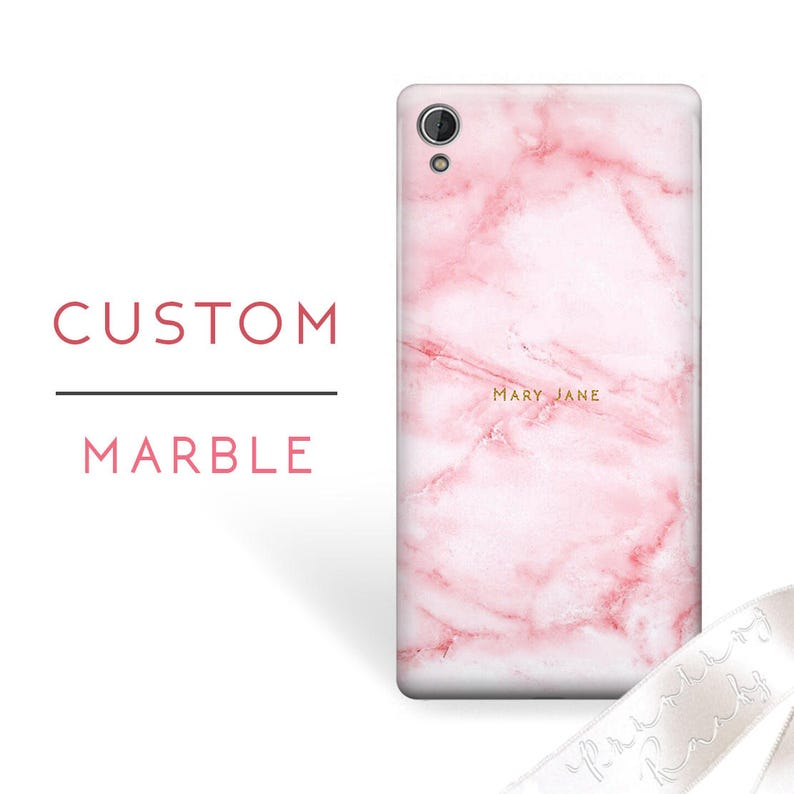 new concept fc80c c940a Pink Sony Marble Case Custom Name Sony Case Xperia Z5 mini Case Xperia Z5  plus Xperia Z5 Premium Xperia Z4 mini Xperia Z4 Sony Xperia L 31