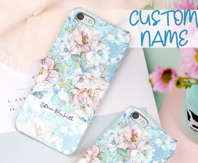 Blue Floral Samsung Galaxy S10 case, S9 plus case, S9, Note 9 case, Note 8,  S8 plus S7 S7 EDGE, J7 2018 J7 A8 2018 Galaxy A8 A7 A9 2018 PR29