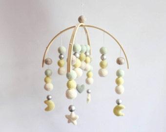 Heart, Stars, Moon Felt Ball Mobile - Honeydew, Pale Yellow. White & Silver