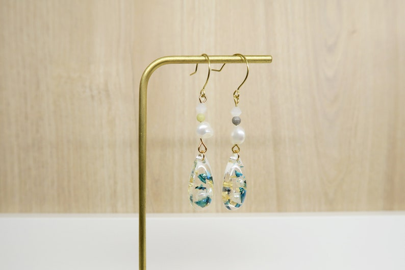 Geometric-Natural Freshwater Baroque Pearls-Everyday Earrings-Drop Earrings-Aquamarine Shells-14K gf Ear Wire Hooks-Clip-on Available