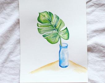 Monstera Leaf in Vase Watercolour
