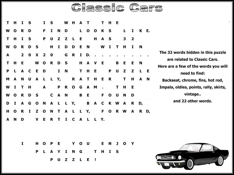 Classic Cars Themed Word Search Instant Download
