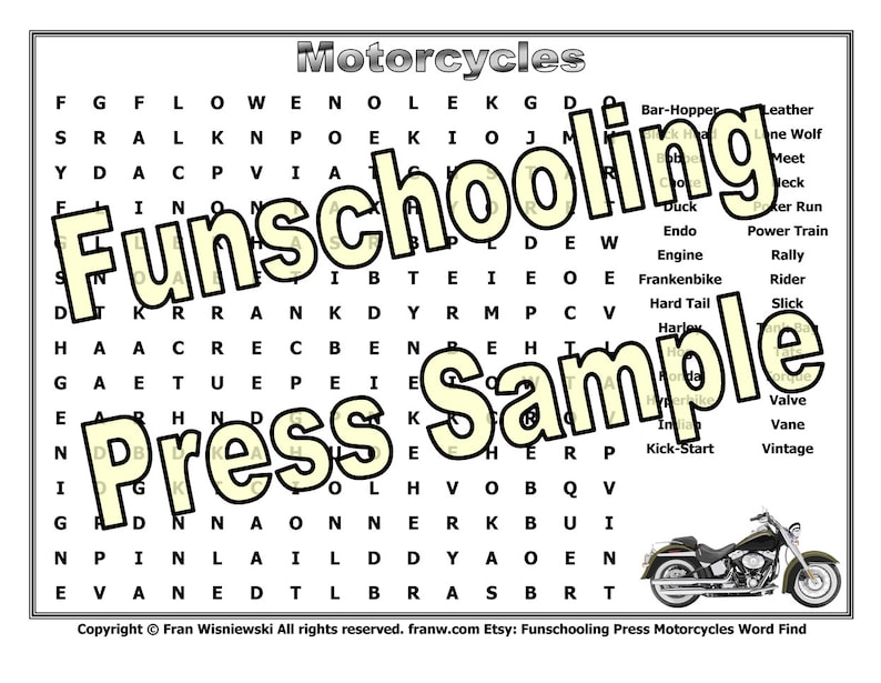 Motorcycle Word Find Puzzle Instant Download