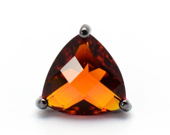 2 Triangle Orange Clay Crystal Glass Pendant / Connector. Black colour Plated over Brass Setting. 14mm [TBO0259]