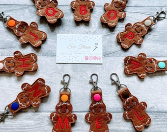 Gingerbread Felt Keyrings, Initial Bag Charms,Car Keys Fun Keyrings, Handmade Purse Charms, Stocking Gifts For Any Age, Stocking filler