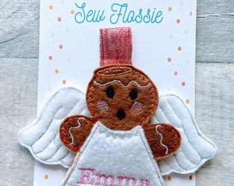 Personalised Angel hanging decoration, gingerbread, collectible, stocking filler, secret Santa, tree decoration
