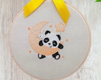 Panda On The Moon Hoop Art, Golden Embroidered Animal Nursery Art, Cute Wall Art For New Babies, Panda Themed Baby Shower Gift, 8 Inch Hoop
