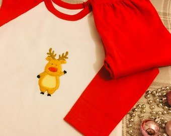 Christmas pyjamas boys/girls-Reindeer/My 1st Christmas /Believe/Baby elf/little elf/middle elf/big elf