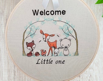 Embroidered Animals Nursery Wall Art, Woodland Hanging Nursery Decor, Forest Friends Little One New Baby Gift, Cute Present For A New Mum,