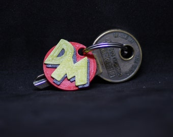 Danger Mouse inspired Keyring in 3 vivid 3D printed colours (no paint to chip here)