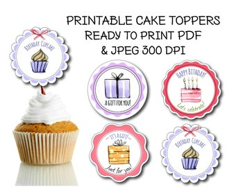 4 Printable Cupcake Toppers Happy Birthday Topper Round Label DIY Labels Tags Favors