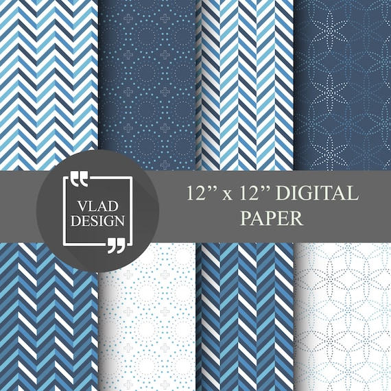 8 Blue Geometric Paper Pack Winter Patterns Abstract Blue Etsy