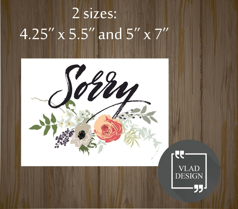 Printable Sorry card Gift card Printable cards Instant download DIY Sorry card