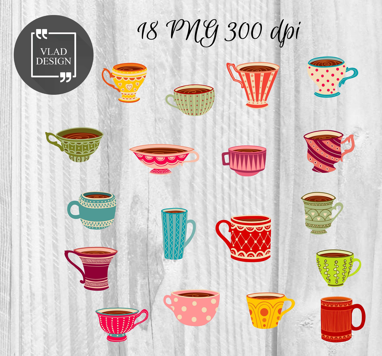 Tasse Clipart Tee Tassen Clipart Digital Getränke Elemente | Etsy
