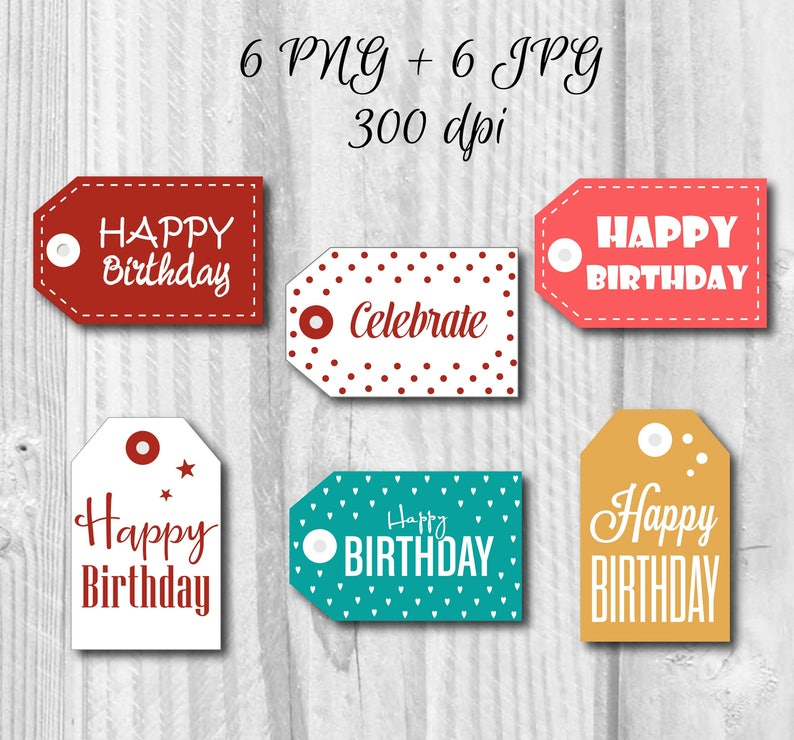 image about Happy Birthday Tag Printable named 6 Printable Joyful Birthday Labels, Content Birthday Present Tags, Birthday sticker, Quick obtain, Do-it-yourself, Getaway tag, Favors tag, Favors labels