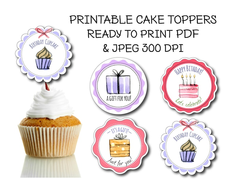 4 Printable Cupcake Toppers Happy Birthday Topper