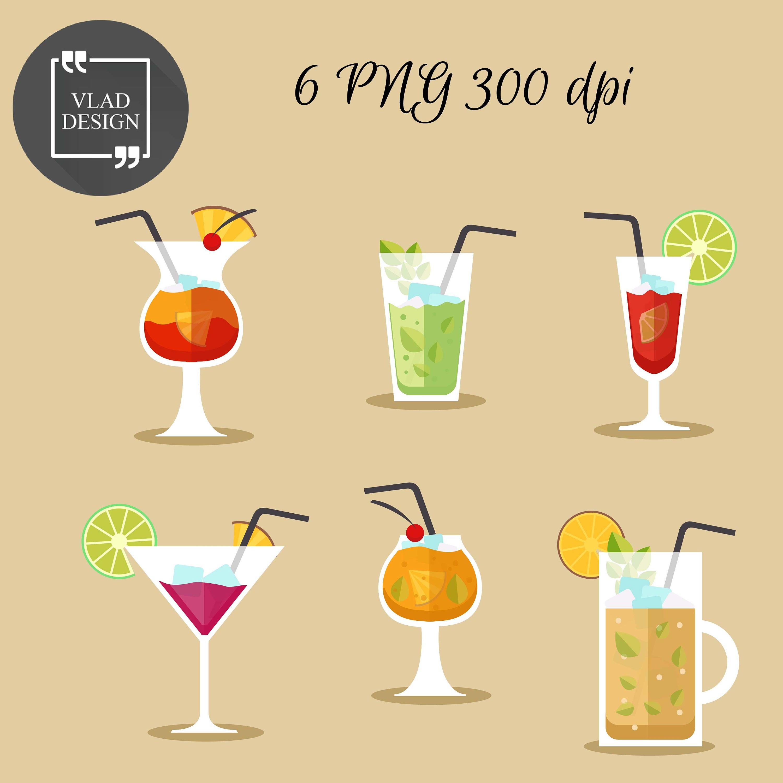 Cocktails Cliparts Alkohol Clipart digitale Getränke Elemente   Etsy