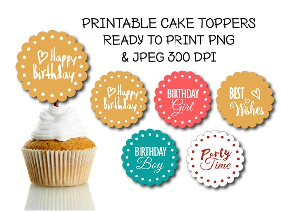 5 Printable Colorful Cupcake Toppers Happy Birthday Cupcake Etsy