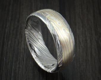 Kuro damascus and 18k yellow gold and 14k white gold mokume gane ring custom made