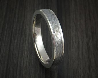 14k white gold and gibeon meteorite ring custom made band