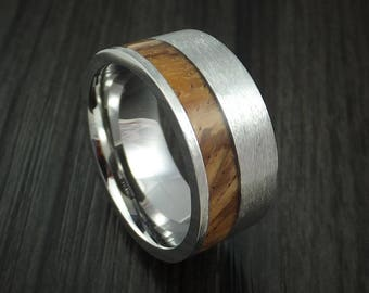 Cobalt chrome and zebrawood ring custom made wood band