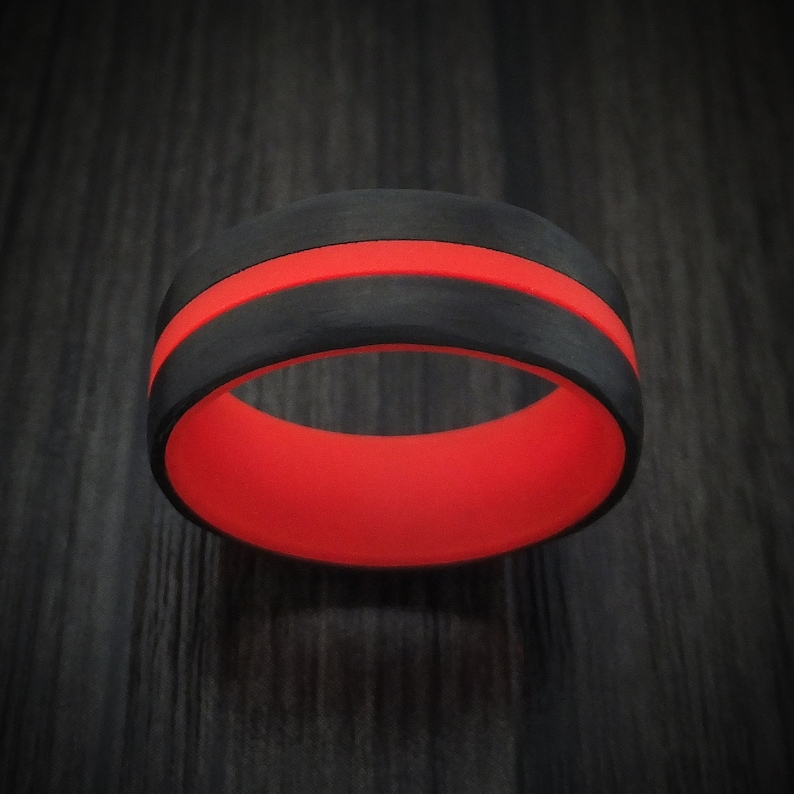Carbon Fiber and Red Glow Ring Custom Made