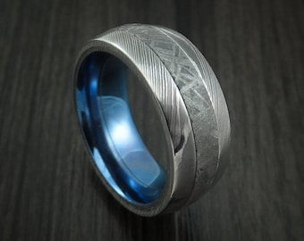Damascus steel and meteorite ring with anodized titanium sleeve custom made