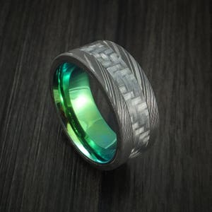 Custom Band widths Lightweight Handcrafted Contemporary Flat Band Men/'s or Women/'s 100/% Carbon Fiber Ring with diamond inlay