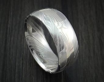 Kuro damascus steel and 14k white gold mokume gane inlay custom made band