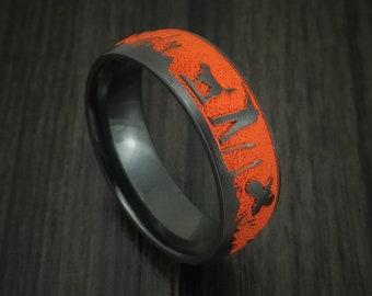 Black Zirconium Duck Hunter Band with Cerakote Custom Made Ring