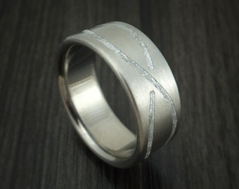 Titanium and Meteorite Infinity Design Custom Made Ring