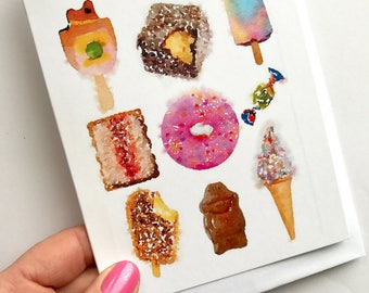 Greeting Card - Iconic Australian with images of lamington, pink donut and more!