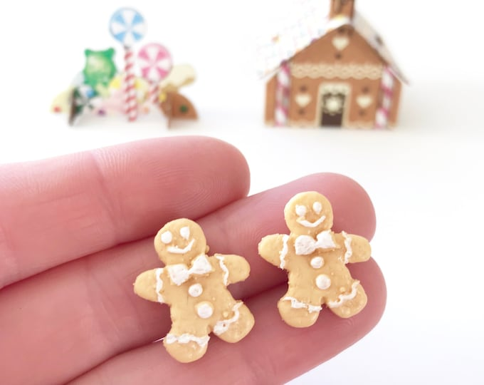 Ginger Bread Men Earrings with Stainless Steel Posts - Perfect for Christmas!