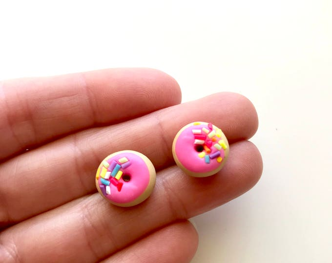 Pink Donuts with Sprinkles - Earrings with Stainless Steel Studs - International Classic Treat you can wear!