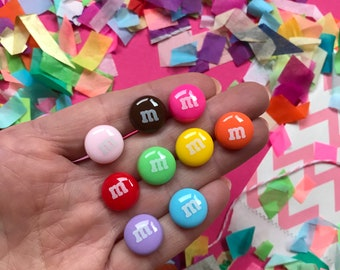 M&M Rainbow Earrings fixed to Surgical Stainless Steel Studs - A Classic International Sweet!