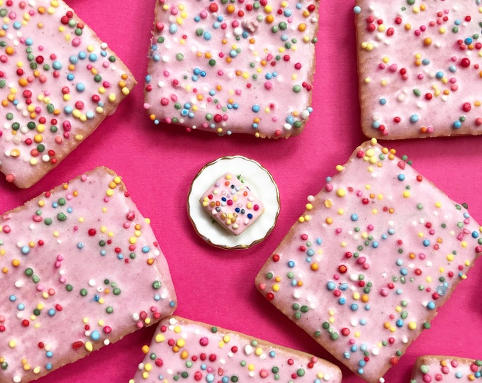 Pink Hundreds and Thousands Biscuit Earrings with Stainless Steel Studs - Australian Classic Treat you can wear!