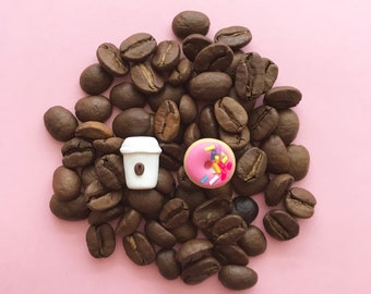 Coffee Cup and Pink Donut with Sprinkles - Earrings with Stainless Steel Studs - Classic Treats you can wear!