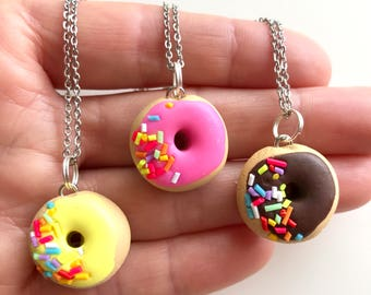Pink, Yellow or Chocolate Donut with Sprinkles Pendant - a sweet treat you can wear which includes a Stainless Steel Chain